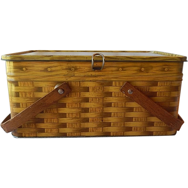 Basketweave Design Tin Picnic Basket