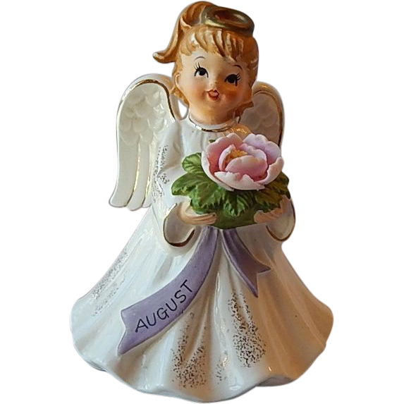 Lefton August Happy Birthday Angel Girl Figurine Music Box