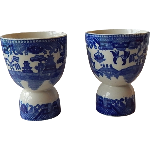 Two Japan Blue Willow Egg Cups