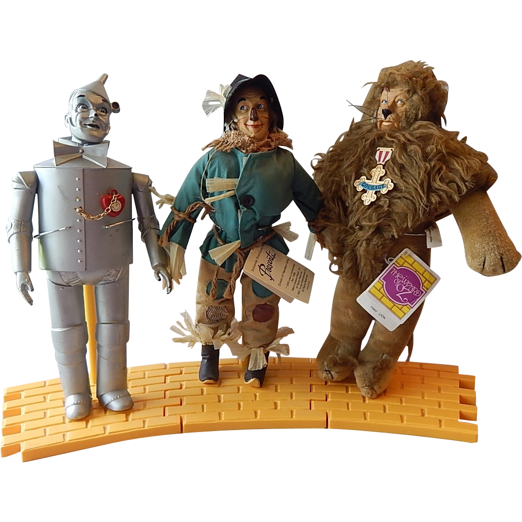 Three Wizard of Oz Dolls Scarecrow Tin Man Cowardly Lion