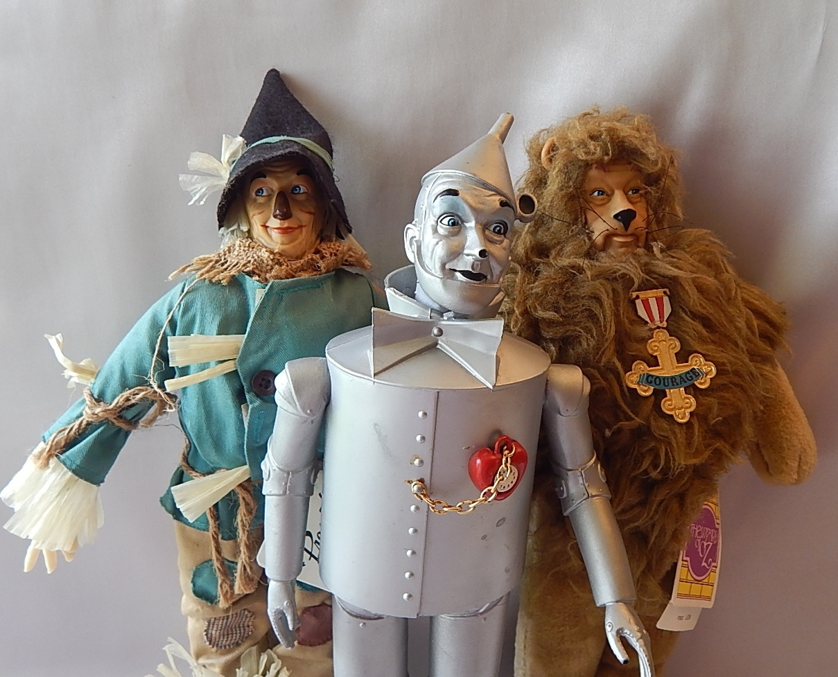 Three Wizard of Oz Dolls Scarecrow Tin Man Cowardly Lion from ...