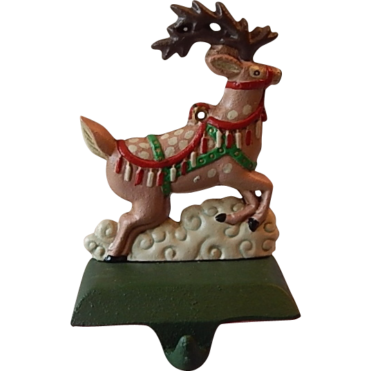 christmas stocking holder for mantle uk cast iron reindeer hangers walmart australia