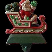 Midwest Cast Iron Santa In Sleigh Christmas Stocking Holder / Hanger