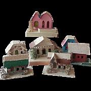 Japan Christmas Cardboard Village Six Houses and Church