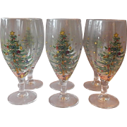 Six Nikko Christmastime Water Goblets