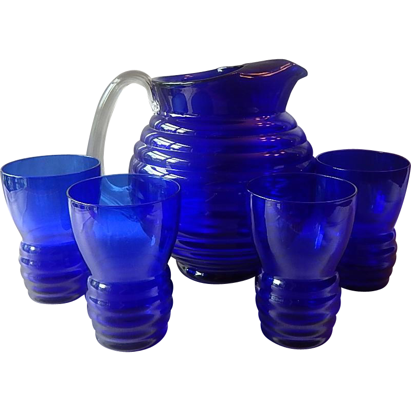 Cobalt Blue Pitcher and Four Tumblers