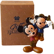 Avon Mickey Mouse as Bob Cratchit with Morty Mouse as Tiny Tim Ornament