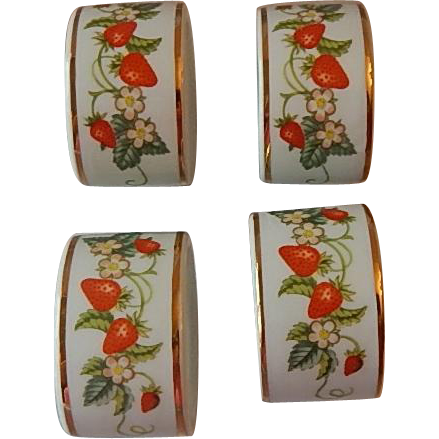 Four Strawberry Avon Napkin Rings