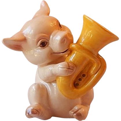 W. Germany Goebel Pig Playing A Tuba Figurine