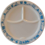 Pyrex By Corning Child's Divided Plate Blue Train