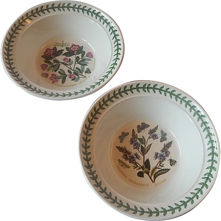 Two Portmeirion Botanic Garden  Oatmeal Cereal Bowls