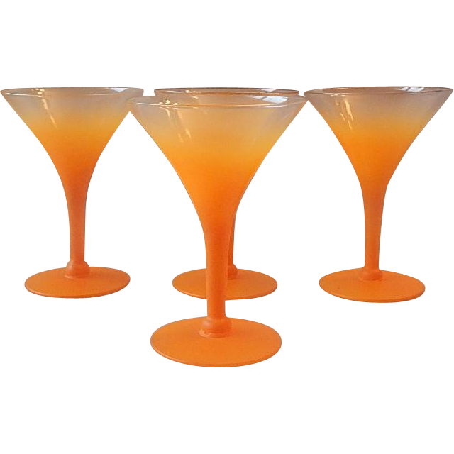 Set of Four Orange Blendo Frosted Martini Stems