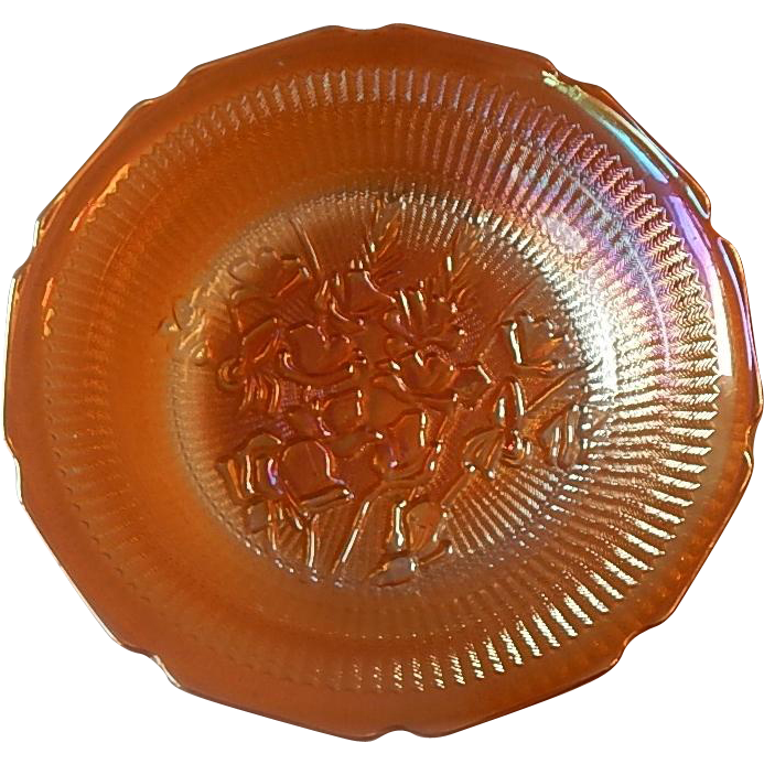 Jeannette Glass Iris and Herringbone Iridescent Soup Bowl