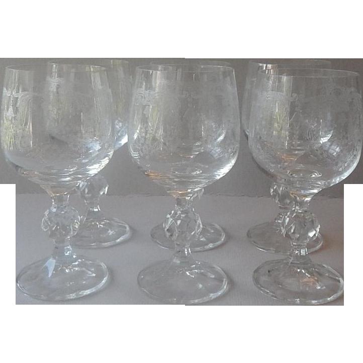 Six Bohemian Crystal Cascade Wine Goblets