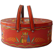 Dutch Painted Metal Tin Two Handle Basket