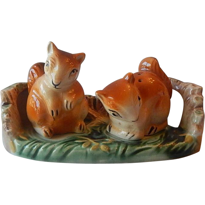 Squirrel Salt and Pepper Shaker with Stand