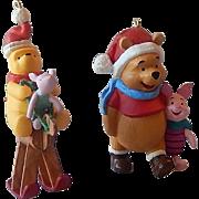 Two Hallmark Winnie The Pooh & Piglet Ornaments