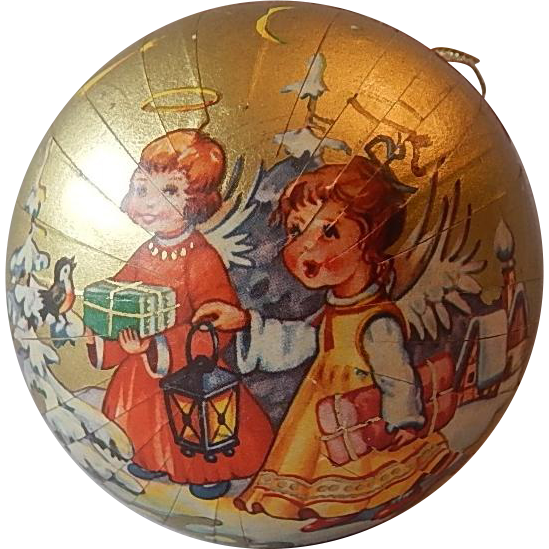 Christmas Paper Mache Candy Container Angel Ornament