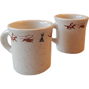 Two Homer Laughlin Cowboy Motif Coffee Mugs