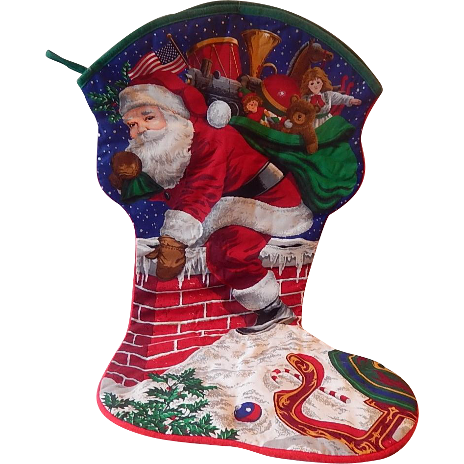 "Cranston Jumbo ""Santas Visit"" Christmas Stocking"