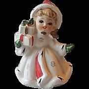 Napco Hand Painted Christmas Girl Figurine