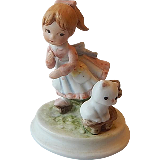 Lefton Miniature Girl and Kitten Figurine