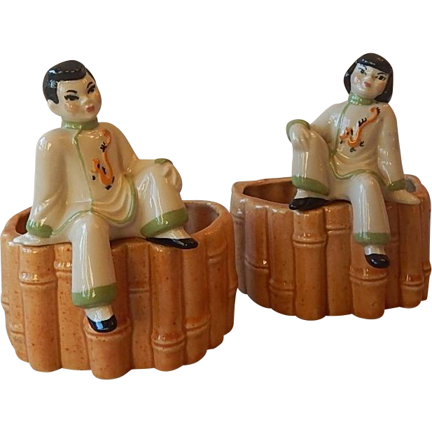 Two Ceramic Art Studio Asian Planters