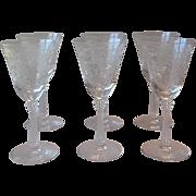 Six Fostoria Glass Crystal Romance Wine Glasses