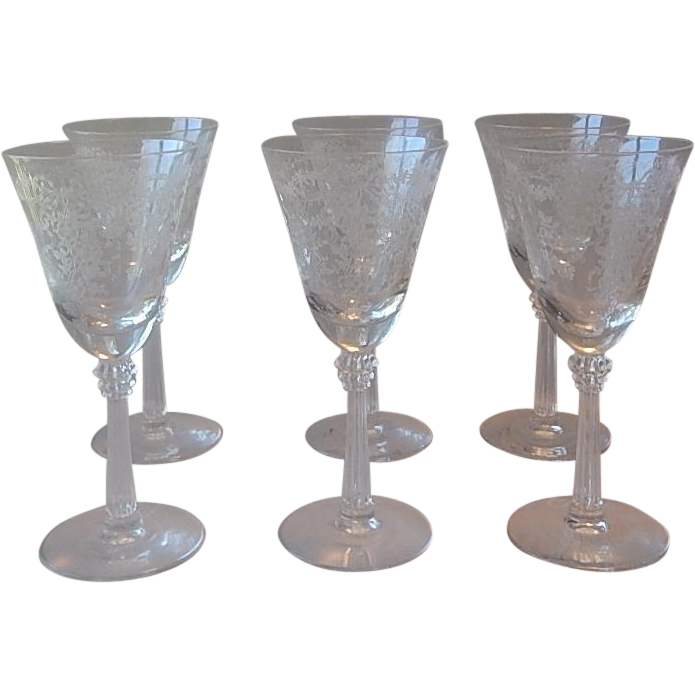 Six Fostoria Glass Crystal Romance Wine Glasses