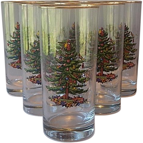 Spode Christmas Tree Highball Glasses