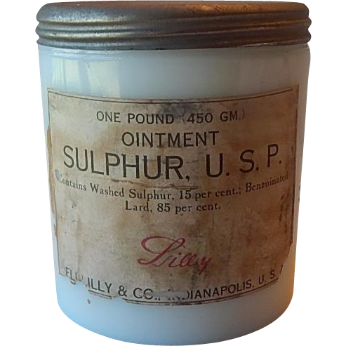 Eli Lilly One Pound Ointment Milk Glass Jar