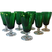 8 Fostoria Colonial Dame Emerald Green  Goblets