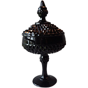Tiara Cameo Black Covered Candy Dish
