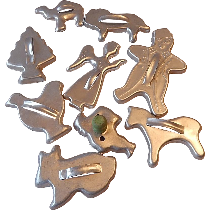 Nine Aluminum Cookie Cutters