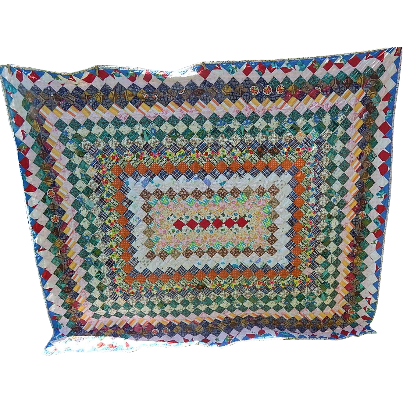 Hand Crafted Multi Colored  Quilt