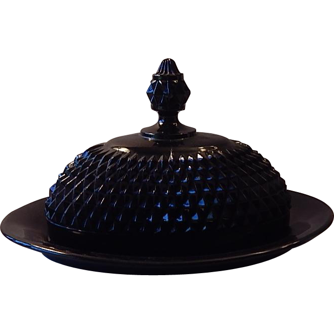 Indiana Glass Tiara Diamond Point Covered Butter Dish