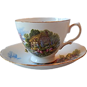 Royal Vale Thatched Cottage Teacup & Saucer