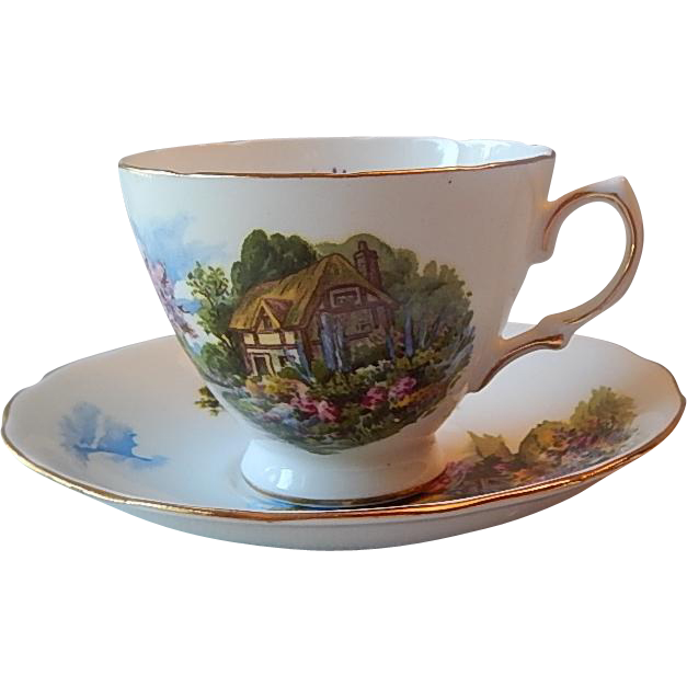 Royal Vale Thatched Cottage Teacup & Saucer