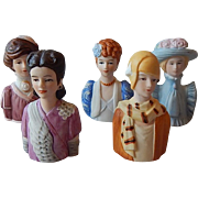 Five Avon American Fashion Ladies Thimbles