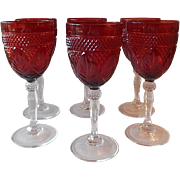 Six Cristal D'Arques Wine Goblets France