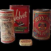 Velvet, Royal Baking, Dr. Legear, Aspirin Containers