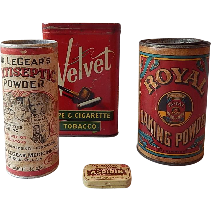 Velvet, Royal Baking, Dr. Legear, Aspirin Containers