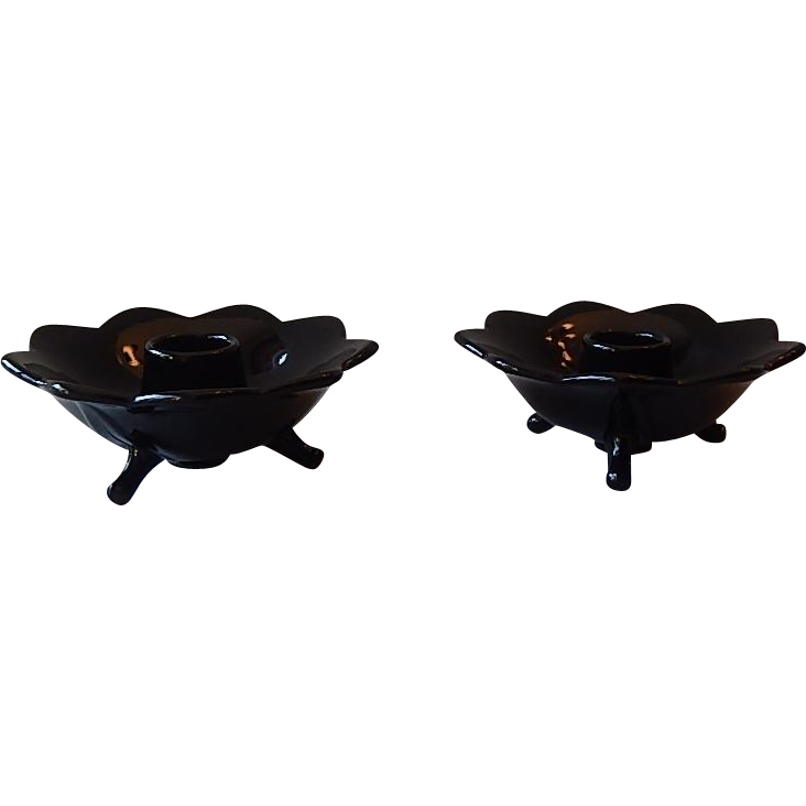 Lancaster Black Glass Candle Holders