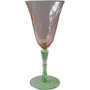 Pink and Green Goblet by Tiffin Glass