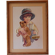 Framed Needle Point Jimmy Teddy Bear Toy Top