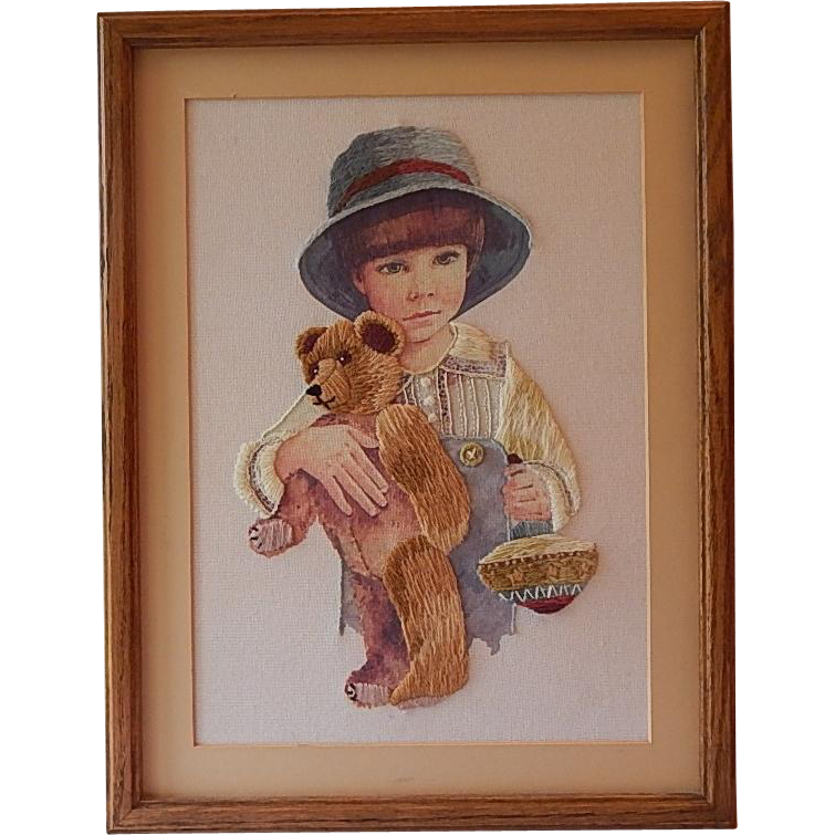 Framed Needle Point Jimmy Teddy Bear Toy Top