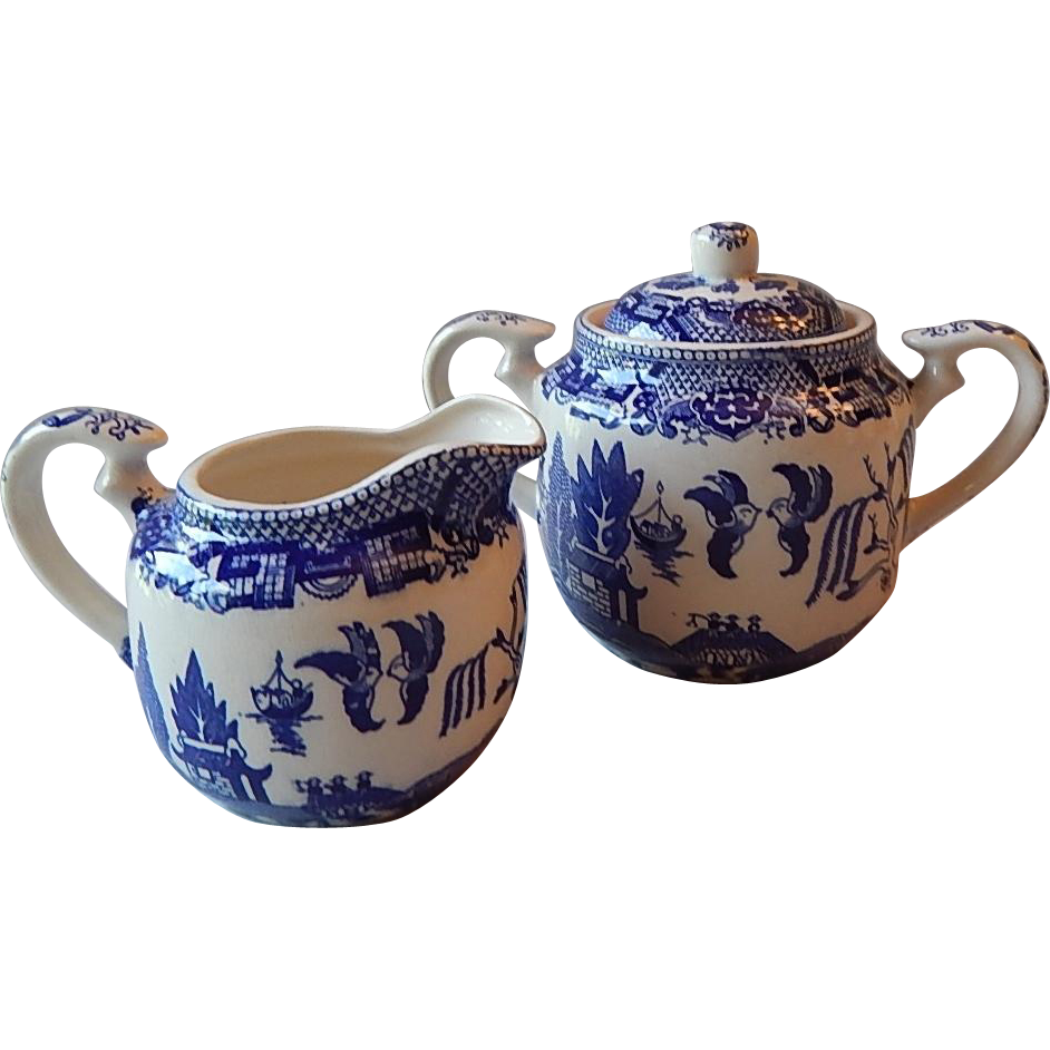 Japanese Blue Willow Creamer and Sugar Set