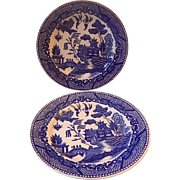 Two Japanese Blue Willow Bread and Butter Plates