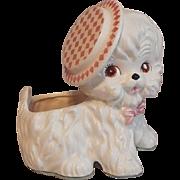 Samson White Poodle Planter