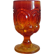 Moon & Stars Amberina Water Goblet by L. E. Smith